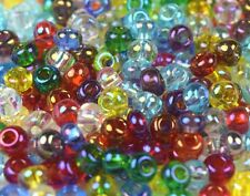 "Czech Glass Seed Beads 6/0 "" TRANSPARENT MIX COLORS "" 50 Grams"