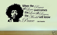 JIMI HENDRIX Silhouette Vinyl Wall Art Quote PEACE Sticker Decal Home Decoration