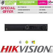 16CH hikvision DS-7716NI-E4 smart nvr 6MP 100MB P2P onvif cd-rom alarme hdmi uk