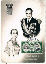 POSTCARD WEDDING RAINER & PRINCESS GRACE MONACO 19-4-56-FIRST DAY COVER STAMP RP