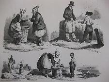 Lithographie ancienne originale Bellangé costumes romantisme vie des paysans