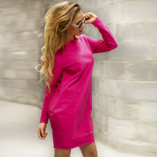 Womens Ladies Casual Loose Long Sleeve Crew Neck Jumper Tops Tunic Sweater Dress