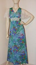 Vintage 1970s Long Floral dress with Lace Sleeves- size Small