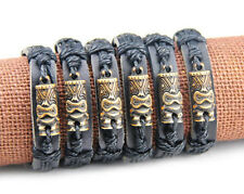 TOTEM TIKI LEATHER BRACELET LUAU HULA SURF GIRL BOY FRIENDSHIP BAND TRIBAL RAIN