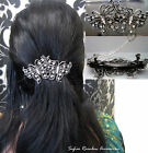 Bridal Wedding Prom Silver Crystal Vintage Butterfly Barrette Hair Clip Grip