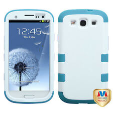 For Samsung Galaxy S III 3 Rubber IMPACT TUFF HYBRID Case Cover White Teal
