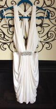bcbg maxazria GORGEOUS goddess white halter embellished stretch dress size M