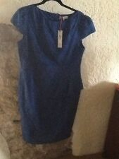 Flattering Per Una Blue borderie anglaise Peplum dress size 16 - BNWT.  RRP £55