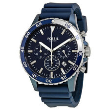 Fossil Men's CH3054 Crewmaster Chronograph Blue Dial Blue Silicone Watch