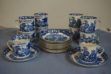 VTG Set 10 TF&SL Florentine Teacup Saucer Set Blue White Bone Phoenix China