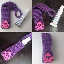 New Violet Pink Handmade Crochet Knitting Cotton Case For Ointment Aciclovir