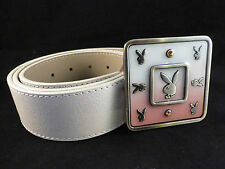 Playboy Cream Belt with Enamelled Classic Bunny Logo Cream & Pink Buckle - Small