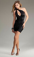 SEXY MINI ABITO NERO VESTITO VERSATILE METALLIC BLACK PARTY MINI DRESS FORPLAY