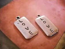 Word Charms LOVE Charms Pendants Antiqued Silver Rectangle Charms 10 pieces