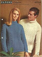 VINTAGE KNITTING PATTERN  ARAN JUMPER (C) FOR WOMEN & MEN