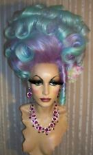 Drag Queen Wig Big Tall Up Do  Turquoise Blue  Lavender French Twist Curls