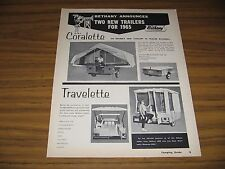 1965 Print Ad Bethany Tent Camping Trailers Coralette & Travelette Minneapolis