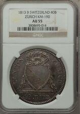 SWITZERLAND ZURICH 1813-B 40 BATZEN COIN ALMOST UNCIRCULATED NGC CERTIFIED AU55