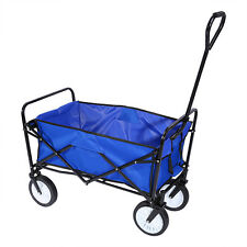 Folding Wagon Utility Cart Blue Garden Sports Beach Camping