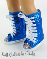 Electric Blue Glitter knee High Top Sneaker Boots fit American Girl Dolls