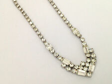 Lovely Vintage Art Deco Retro Paste Necklace Chevron Design Rhinestones