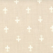 ROUENNERIES DEUX~by 1/2 YD~MODA~13605-20~FRENCH GENERAL~WHITE FLEUR DE LIS/PEARL