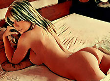"NAKED WOMAN Figure Art Painting on Giclee canvas 16""x20"" with mat frame"