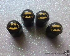 4 TYRE TIRE VALVE CAPS BATMAN 5 BLACK CAR A/Theft SET AIR STEM DUST BIKE TRUCK