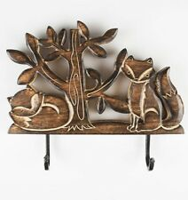 Sass & Belle Rustic Carved Mango Wood Fox Double Wall Hook