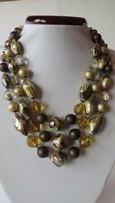 "Vintage Triple Strand Amber Clear Painted Glass Bead 17"" Necklace Signed GM"