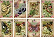 8 BUTTERFLY FAIRY - LADY VINTAGE 155 LB PAPER CRAFT CARD SCRAPBOOK TAG
