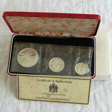 MALTA 1977 SCARCE 3 COIN SILVER PROOF SET - sealed/complete