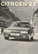 Citroen ZX 1993-94 UK Specification Brochure 16v Volcane Furio Aura Avantage