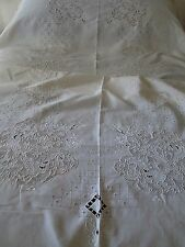 ANTIQUE ITALIAN LINEN FIGURAL TABLECLOTH/BEDSPREAD..CUT WORK & EMBROIDERY
