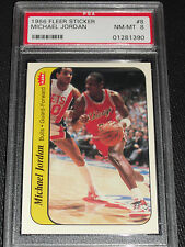 1986 Fleer Sticker Michael Jordan RC Rookie HOF #8 PSA 8