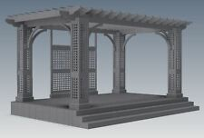 OUTDOOR ENTERTAINER DECK & GRAPE VINE PERGOLA / PATIO - V01  (Building Plans)