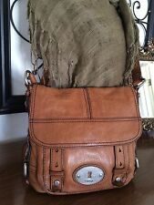 Fossil Maddox DISTRESSED Brown Leather Flap Crossbody Messenger Purse