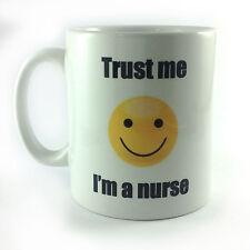 NEW TRUST ME I'M A NURSE SMILEY FACE EMOJI MUG CUP GIFT PRESENT SECRET SANTA