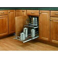 """Rev-A-Shelf 5WB2-1522 Chrome 5WB Series 15"""" Double Pull Out Chrome Wire Basket"""