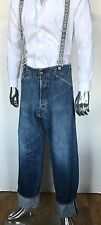 Japanese EVIS GENES EVISU RACING Washed Jumper Denim Jeans Pants Suspenders
