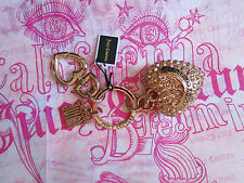 Juicy Couture Key Ring fob Purse Charm BIG Pave Puff Heart Rose Gold NWD