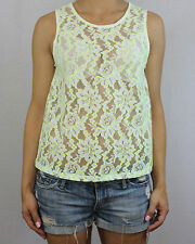 NEW LOOK white neon yellow floral lace see through vest top size 8 EU 36