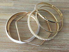 7White Enamel Look Bangle Bracelet Set in Gold Tone with Pearl Beads and Etched