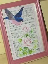 Vtg Shabby Chic BLUE BIRD, PINK ROSES~Frame~Print/Picture~Cottage Decor