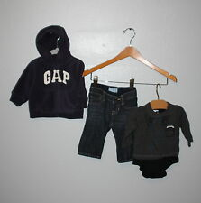 WOW~ BABY GAP sz 3-6 mth OUTFIT 3 pc JEANS ZIP UP HOODIE CREW SHIRT LOOK