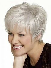 Beautiful Short Straight Silver Grey Synthetic Hair Wig