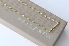 Silpada K & R Sideways Cross Hammered Brass Long Crystal Necklace NEW