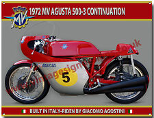 1972 MV AGUSTA 500-3 CONTINUATION MOTORCYCLE METAL SIGN.GIACOMO AGOSTINI