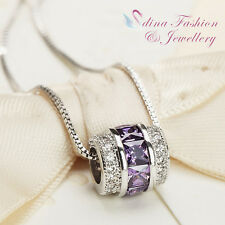 18K White Gold Plated AAA Grade Cubic Zirconia Exquisite Purple Borral Necklace