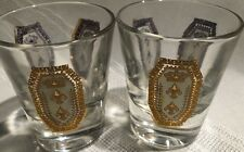 Vintage Mid Century Culver Gold Crest Crown -Glass 2 Shot/Cordial Glasses*